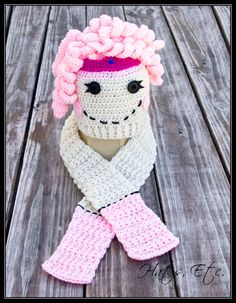 Hat & Scarf set inspired by Lalaloopsy Jewel Sparkle  $32.00