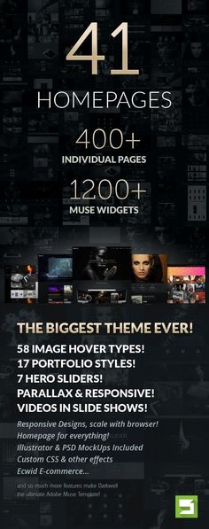 Darkwell Multipurpose Adobe Muse Template, It comes with 42 DEMOS, 400+ PAGES, 1200+ #ADOBE #MUSE WIDGETS, 17 PORTFOLIO STYLES, 17 SLIDERS, 77 ANIMATION STYLES, 58 SUPERB IMAGE HOVERS and soooo much more. #website