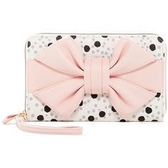 Betsey Johnson Polka Dot & Bow Travel Wristlet ($35) ❤ liked on Polyvore featuring bags, cream, bow bag, pink bag, polka dot bag, strap bag and betsey johnson