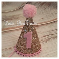 Ready To Ship Gold and pink glittery party hat, birthday, Birthday, cake… Baby Girl 1st Birthday, Princess Birthday, Birthday Bash, First Birthday Parties, First Birthdays, Birthday Ideas, Gold Party, Glitter Party, Baby Party