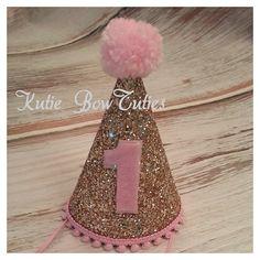 Gold and pink glittery party hat, 1st birthday, Birthday, cake smash,  1st birthday,  photo prop, baby birthday on Etsy, $19.95