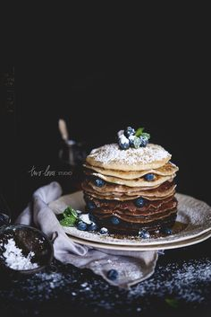 Chocolate Ombré Pancakes Finding Breakfast: Chocolate Ombré Pancakes — Two Loves Studio Waffles, Dark Food Photography, Breakfast Photography, Photography Photos, Food Porn, Tasty, Yummy Food, Delicious Desserts, Healthy Food