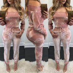 Trendy Off Shoulder Drawstring Jumpsuit