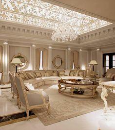 luxus wohnzimmer rundes sofa in blau beleuchtung | traum ... - Traum Wohnzimmer Modern