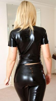 simple black latex top and latex jeans - but so sexy