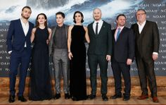 Douglas Booth, Emma Watson, Logan Lerman, Jennifer Connelly, director Darren Aronofsky, producer Scott Franklin and Ray Winstone attend the premiere of Paramount Pictures' 'NOAH' at Zoo Palast on March 13, 2014 in Berlin, Germany.
