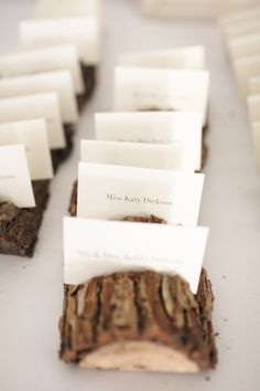 Log to hold escort cards.