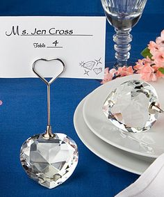 crystal heart place card holder bomboniere wedding favors - 50 pieces = 1 LOT