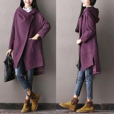 Purple Asymmetric Wool Fashion Long Winter Coat Tops Women Clothes W1201A