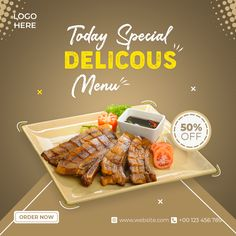 Food Graphic Design, Food Menu Design, Food Poster Design, Italian Food Restaurant, Barbecue Restaurant, International Sushi Day, Indian Catering, Fotografia Social, Food Banner