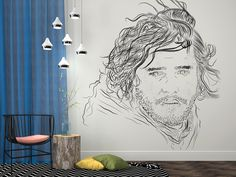 Jon Snow looking down on us from a living room wall is something that every dedicated fan of GoT series can now experience. #gameofthrones #netflix #hbo #series #home #decor #inspiration