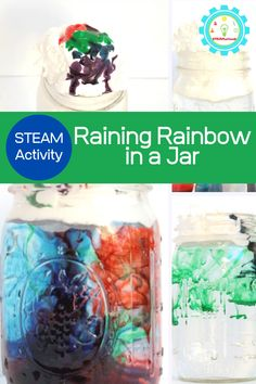 f youve ever had a kid ask you how rain works, you can show them easily with this rain in a jar rain cloud science experiment! Its the perfect addition to your spring STEM activities! Make a raining rainbow right at home!