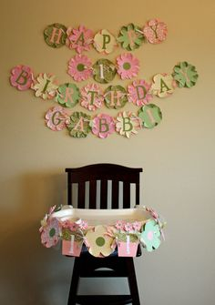 Flower Banner-- Could use the coffee filter flower idea to make this! Garden Theme Birthday, Baby 1st Birthday, Tea Party Birthday, Birthday Stuff, Birthday Party Themes, Birthday Ideas, Butterfly Theme Party, Daisy Party, Green Color Schemes