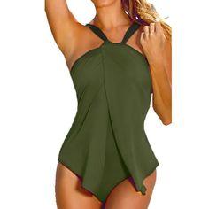 Bikini Neck Elastic Sexy Women Swimwear One Piece Swimsuit Monokini Padded Tankini Burgundy Army Gre #One-Piece-Suit