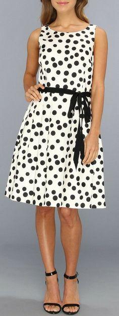 Black & White Polka Dot Sleeveless Belted Dress