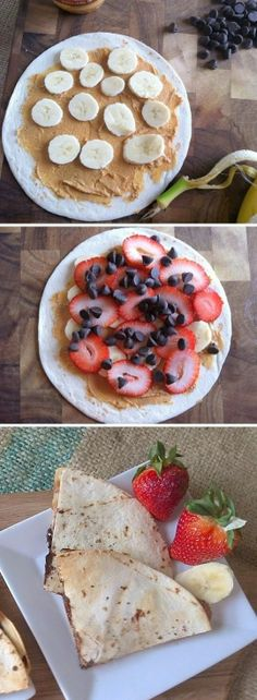 A sweet snack filled with strawberries, bananas, chocolate & peanut butter.