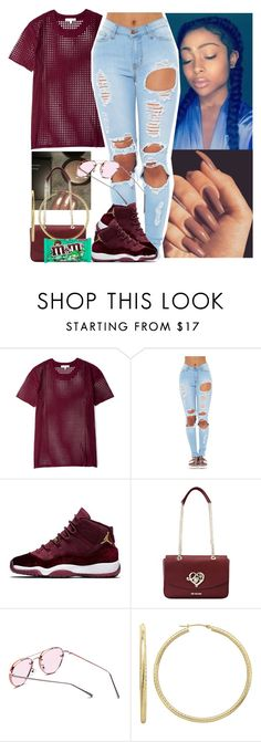 """""""I need those Jordans omg"""" by melaninmonroee ❤ liked on Polyvore featuring IRO, Love Moschino and WithChic"""