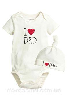 """Бодик и шапочка """"I Love Dad"""" 6-9 месяцев купить. Брендовая одежда для новорожденных от компании """"Интернет-магазин """"Monssstriki"""""""