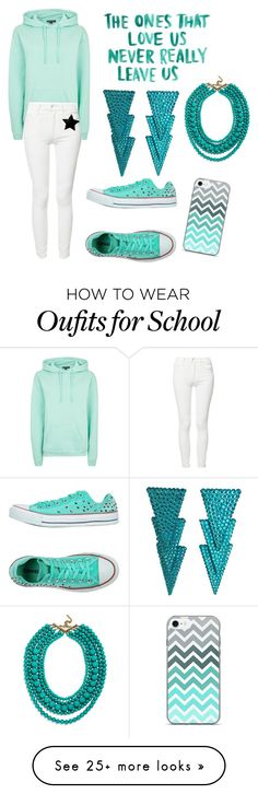 """""""High School Outfit"""" by lilstarry on Polyvore featuring Topshop, Mother, Converse, Kane and BaubleBar"""