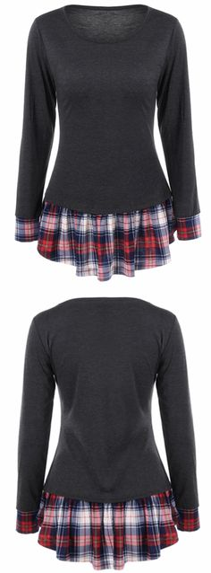 $9.50 Plaid Trim Flounced Tee
