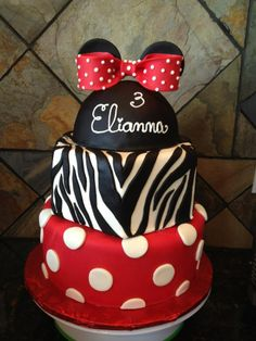"""Thinking I might want to do this for my baby's bday """"- My sweet niece wanted a Minnie Mouse themed party but needed many servings so I created a three tier cake that matched her personality! The bottom is red fondant with white fondant polka dots. The middle tier is white fondant with black fondant zebra stripes and the top is black fondant with a red fondant bow. I used Fondarific fondant which is the best on the market. The bottom is a 10 round, middle is 9 hexagon and the top is a 6 ball."""