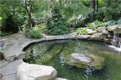 Pond pool, much more natural looking than a traditional inground. Coping idea.