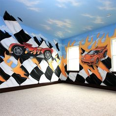 Super wall art for a boys racing car bedroom...S i could paint however you want...this fall/winter ;)