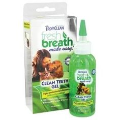 Tropiclean Clean Teeth Gel for dogs and cats works fast and naturally to help reduce plaque and tartar on your pets teeth without the requirement of a toothbrush.  There is a proprietary blend of natural, holistic ingredients that produce a healthy oral environment.