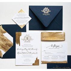 Navy and Gold  this invitation set is beautiful  designed by @leenjean #invitation #design #wedding #weddinginspo #blueandgold #bride #details #calligraphy #goldfoil
