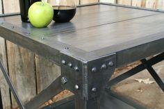 Handmade scrap metal industrial table