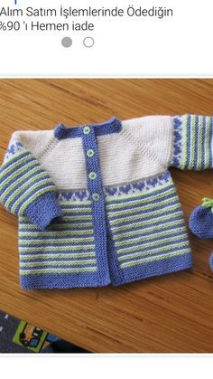 Ravelry: Project Gallery for garter yoke baby cardi pattern by Jennifer Hoel Kids Knitting Patterns, Baby Sweater Patterns, Baby Cardigan Knitting Pattern, Baby Boy Knitting, Knitting For Kids, Baby Patterns, Free Knitting, Baby Knits, Pull Bebe
