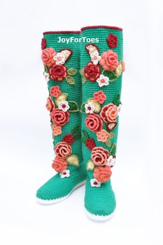 Turquoise Crochet Boots for the Street Folk Tribal Boots Boho Boots Made to Order