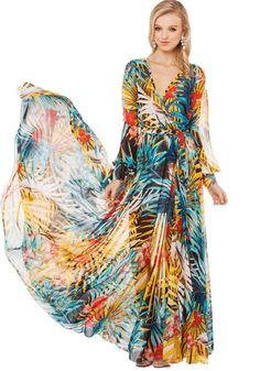 Multicolor Floral Long Sleeve Wrap Maxi Dress