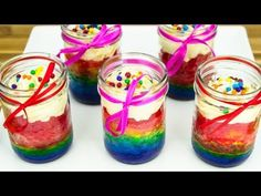 Rainbow Cupcakes in a Jar cookies cupcake and cardio