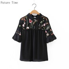 Future Time Women Shirts Mesh Embroidery Blouse Sexy Patchwork Flower Shirts Short Petal Sleeve Blouse Female Chemisier SC094