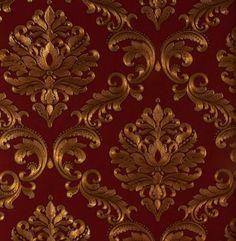 Papel de Parede Grace Medalhão Marrom e Bordô - GR920004 - Site de tecidos para…
