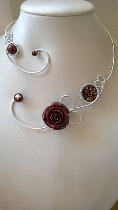 Open collar necklace wire necklace wire jewelry Brown Wire Necklace, Metal Necklaces, Flower Necklace, Collar Necklace, Flower Jewelry, Bridesmaid Statement Necklace, Bridesmaid Jewelry, Bohemian Bracelets, Bohemian Jewelry