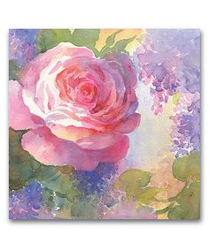 Courtside Market Pink Watercolor Roses I Wrapped Canvas