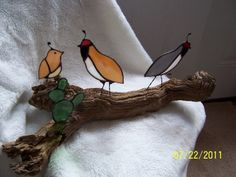 Stained Glass Quail Family with Prickly Pear Cactus on Driftwood | Designs-in-Stained-Glass - Glass on ArtFire