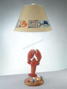 """Lobster Electric Lamp with Brent Shade 28"""" from Handcrafted Nautical Decor - In stock and ready to ship"""