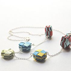 Origami Paper Bead Necklace