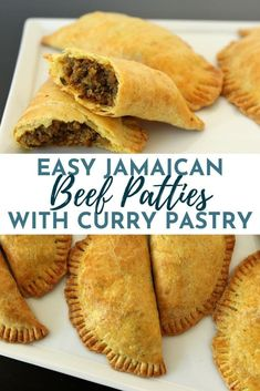 These Jamaican Beef Patties are similar to baked empanadas, but are classically Jamaican in flavor. Curry powder-laced dough yields a lovely color and flavor, as well as a beautifully flaky texture. Jamaican Meat Pies, Jamaican Beef Patties, Jamaican Patty, Jamaican Dishes, Jamaican Recipes, Beef Recipes, Cooking Recipes, Jamaican Cuisine, Carribean Food