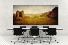 'The Well' Large fine art canvas. Andalucian ruins, ancient finca near the beach with a view of Gibraltar in the distance.