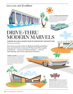Modern Marvels, Palm Springs Mid-century architecture. Desert Guide - February 2014 - Page G16-G17