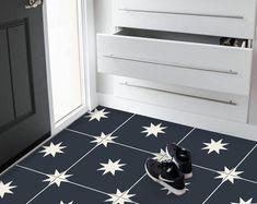 Encaustic Moroccan Tile Wall Stair Floor Self Adhesive Vinyl | Etsy Stick Tile Backsplash, Stick On Tiles, Wall Tiles, Floor Stickers, Wall Stickers, Flooring For Stairs, Bathroom Vinyl, Provence Style, Peel And Stick Vinyl