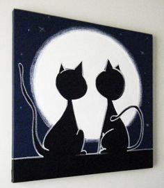 2 chats regardant la lune 20 x 20 peinture par art4barewalls