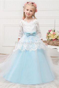 Long Sleeves Blue Flower Girl Dress,Custom Made Girl Dress,Ball Gown Flower Girl Dress,Blue Kid Dress For Wedding,First Communion Dress