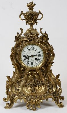 FRENCH, ROCOCO STYLE, BRONZE MANTLE CLOCK,