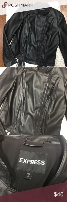 "Express faux leather fringe moto jacket Medium Express faux leather fringe moto jacket Medium. Excellent preowned condition. Super stylish. Like new; only worn once or twice. 🚫MEASUREMENTS LAYING FLAT:   Armpit to armpit:19"" Waist:18"" Length from shoulder to bottom:21.5"" Sleeve:25"" Express Jackets & Coats"