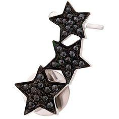 Alinka 'Stasia' triple star diamond ear cuff ($1,275) ❤ liked on Polyvore featuring jewelry, earrings, accessories, ear cuff, metallic, diamond jewelry, diamond star earrings, diamond earring jewelry, hook earrings and ear cuff jewelry